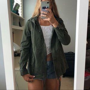 Olive Green Lightweight Utility Jacket